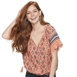 Juniors' American Rag Lace Sleeve Peasant Top
