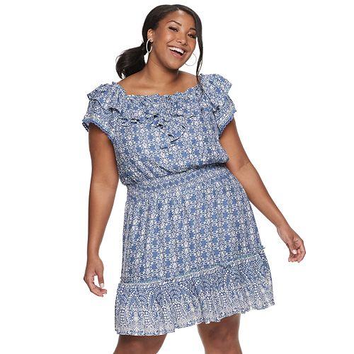 Juniors\' Plus Size American Rag Off-the-Shoulder Ruffle Dress