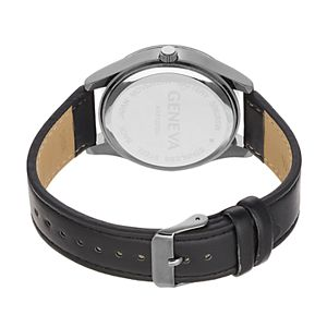 Geneva Men's Diamond Accent Faux Leather Watch
