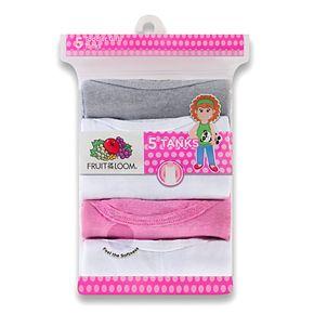 Girls Fruit of the Loom 5-Pack Toddler Tanks