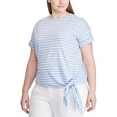 Plus Size Chaps Short Sleeve Side Tie Top