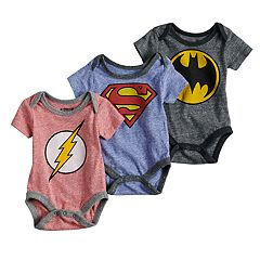 Baby Boy DC Comics 3 Pack The Flash, Superman & Batman Bodysuits