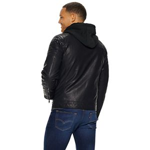 Men's Apt. 9 Faux Leather Moto Jacket With Removable Hood