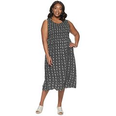 f7c9f5dfb80 Plus Size Croft   Barrow Print Challis Midi Dress