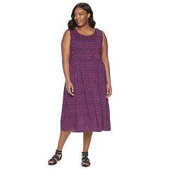 Plus Size Croft & Barrow Print Challis Midi Dress