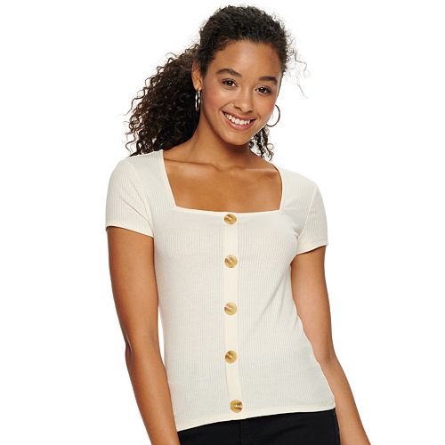 Juniors' Candie's® Square Neck Ribbed Tee by Juniors' Candie's