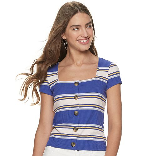 Juniors' Candie's® Square Neck Ribbed Tee