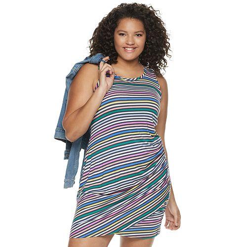 Juniors' Plus Love, Fire Side Shirred Asymmetrical Hem Dress