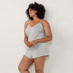 Plus Size LC Lauren Conrad Lace Camisole & Pajama Shorts Set