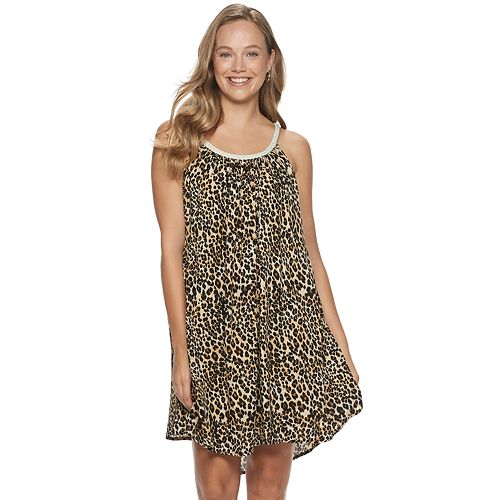 Juniors' Nina Leonard Printed Gauze Trapeze Dress