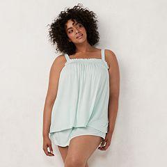 Plus Size LC Lauren Conrad Smocked Sleep Camisole & Pajama Shorts Set