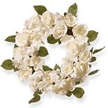 "National Tree Co. 16"" White Rose Wreath"
