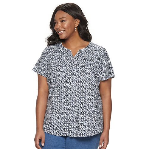 Women's Plus Size Croft & Barrow® Open Placket Top