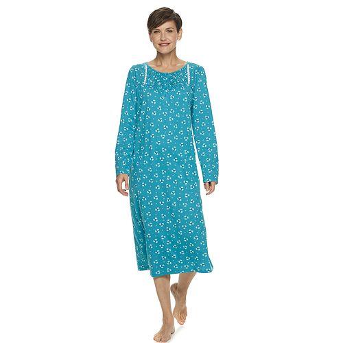 Women's Croft & Barrow® Long Sleeve Smocked Knit Gown