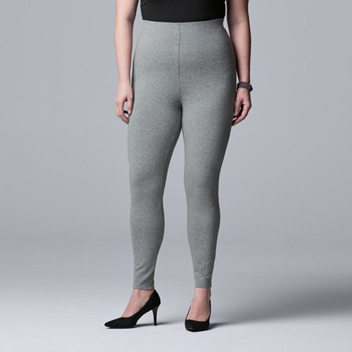 Plus Size Simply Vera Vera Wang High-Rise Cotton Shaping Leggings