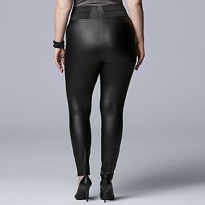Plus Size Simply Vera Vera Wang High Rise Faux Leather Legging