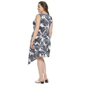 Womens Dana Buchman Plus Sleeveless Asymetrical Dress