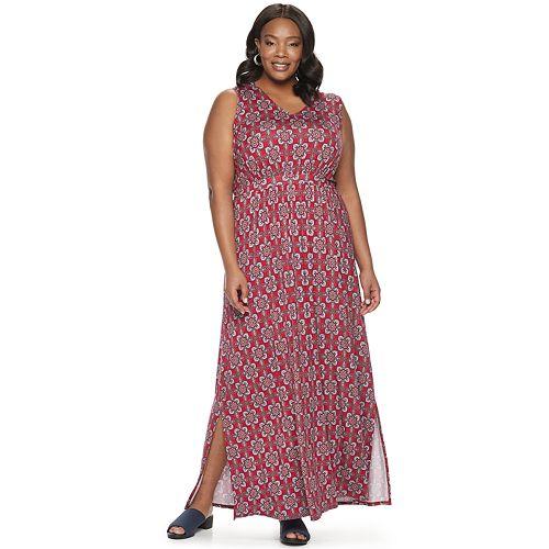 Womens Dana Buchman Plus Sleeveless Tie Waist Maxi Dres