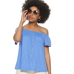 Women's POPSUGAR Off-the-Shoulder Button Front Top