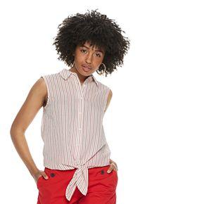 Women's POPSUGAR Tie-Front Button-Up Tank Top