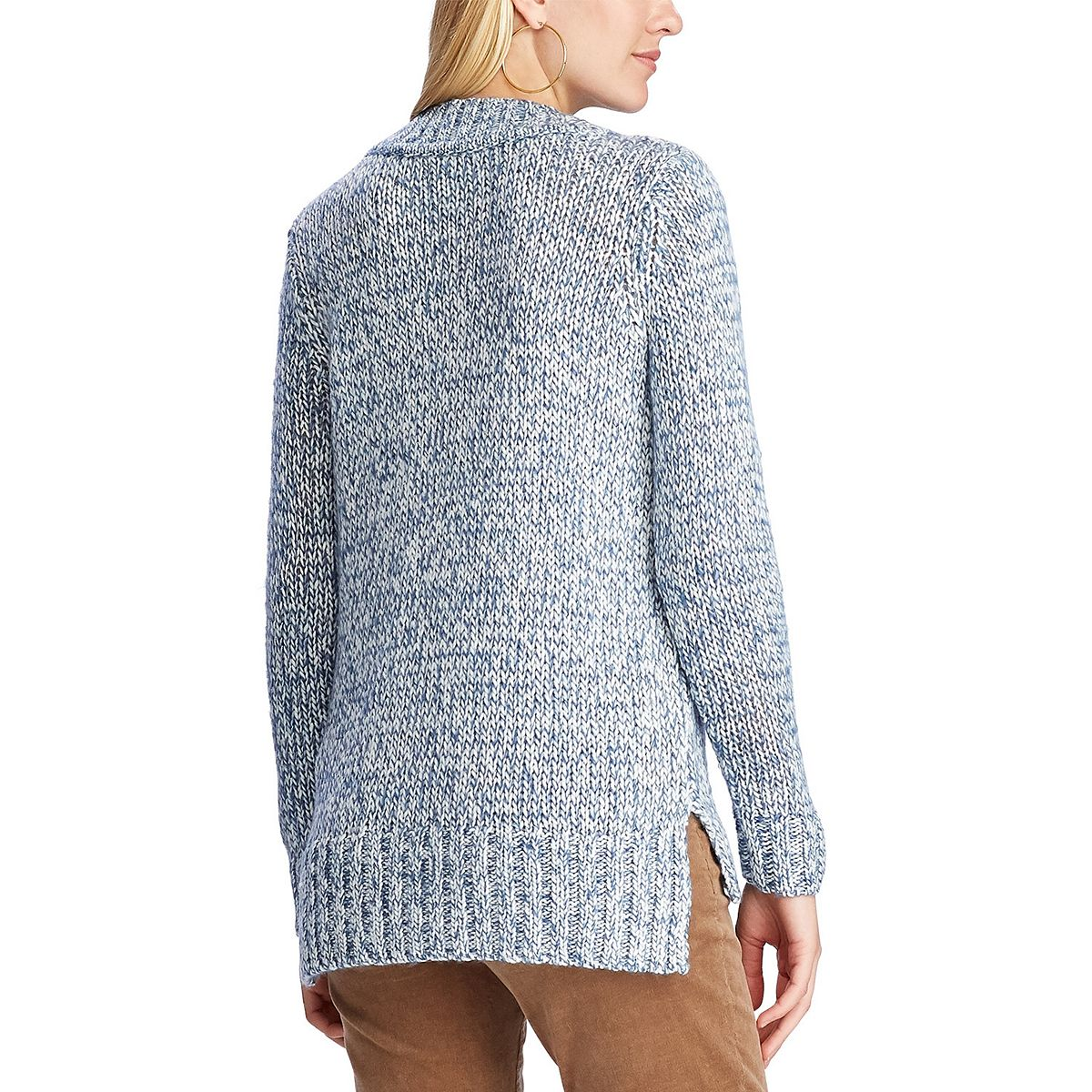 Women's Chaps Sparkle Long Sleeve Sweater Cream Sparkle CLBBu