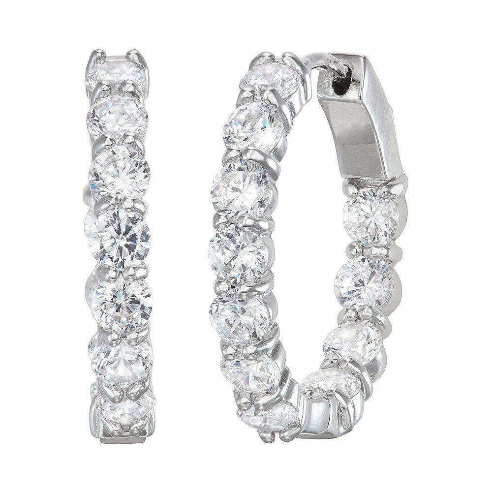 Sterling Silver Simulated Gemstone Hoop Earrings