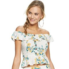 Juniors' Candies Button Down SS Marilyn Top