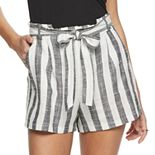 Juniors' Candie's® Woven Belted Paper Bag Shorts