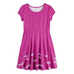 bc8d433f Girl's SO® Cold Shoulder Dress. Purple Unicorn Robots Hearts Cats ...
