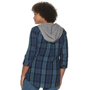 Juniors' Mudd® Button Up Hooded Shirt