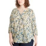 Plus Size Chaps 3/4 Sleeve Lace Up Top