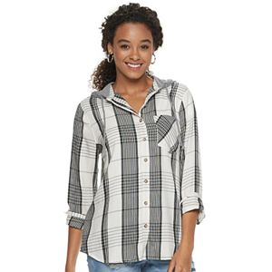 Juniors' Mudd Button Down Hoodie Shirt