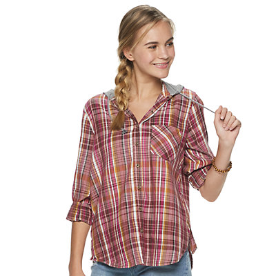 Juniors' Mudd® Button Down Hoodie Shirt