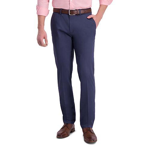 Men's Haggar® Iron Free Premium Khaki Slim-Straight Fit Flat Front Perfect Fit Waistband Casual Pant