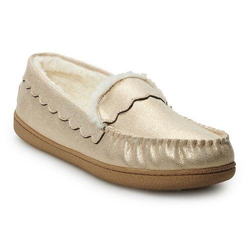 Women's SONOMA Goods for Life® Scalloped Glitter Moccasin Slippers