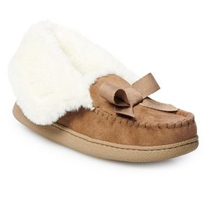 Women's SONOMA Goods for Life® Faux Fur Foldover Microsuede Moccasin Slippers