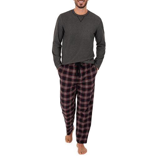 Men's Chaps Solid Microfleece Tee & Plaid Flannel Sleep Pants Set