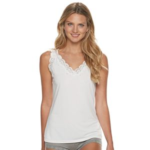 Women's Lunaire V-neck Tank Camisole with Scalloped Lace Trim