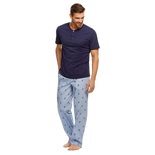 Men's Haggar Stretch Poplin Henley & Sleep Pants Set