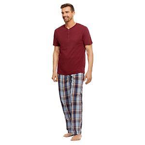 Men's Haggar Stretch Poplin Henley & Sleep Pants Set