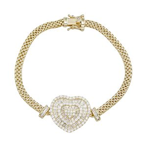 Cubic Zirconia Baguette Heart Mesh Bracelet