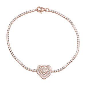 Cubic Zirconia Adjustable Heart Bracelet
