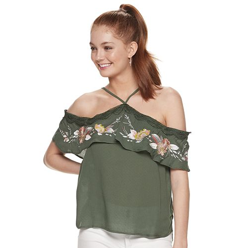 Juniors' Love, Fire Y-Neck Embroidered Ruffle Top