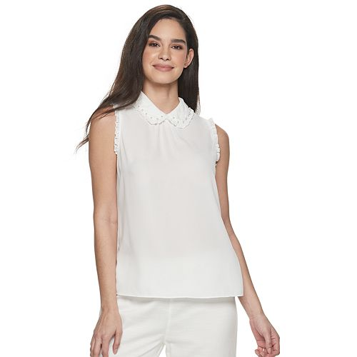 Women's ELLE™ Pearl Collar Shell Top