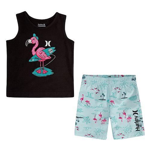 Toddler Boy Hurley Flamingo Tank Top & Boardshorts Set
