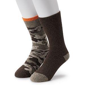 Men's IQ Brands 2-pack Wool-Blend Camouflage & Solid Outdoor Crew Socks