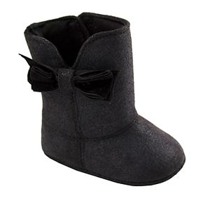Baby Girl Wee Kids Black Shimmer Boot With Bow
