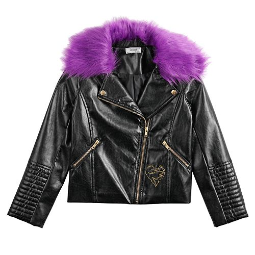Girls 7-16 Disney's Descendants 3 Mal Moto Jacket with Detachable Fur Collar