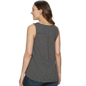 Maternity a:glow Button-Front Shirt-Tail Sleeveless Top