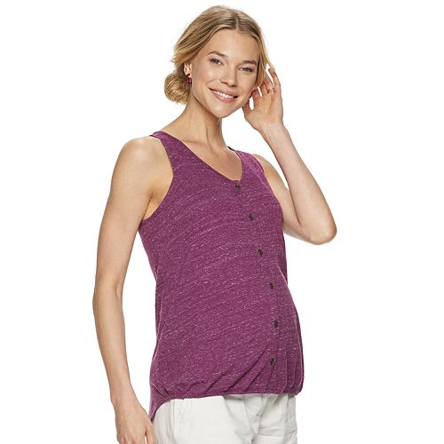 a5ccfae331e57 Maternity a:glow Button-Front Shirt-Tail Sleeveless Top